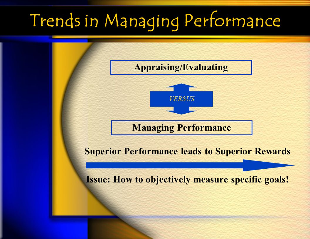 Trends in Managing Performance Superior Performance leads to Superior Rewards Issue: How to objectively measure specific goals! Appraising/Evaluating