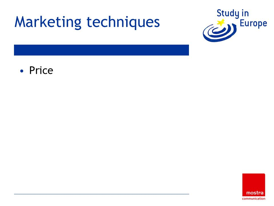 Marketing techniques Price