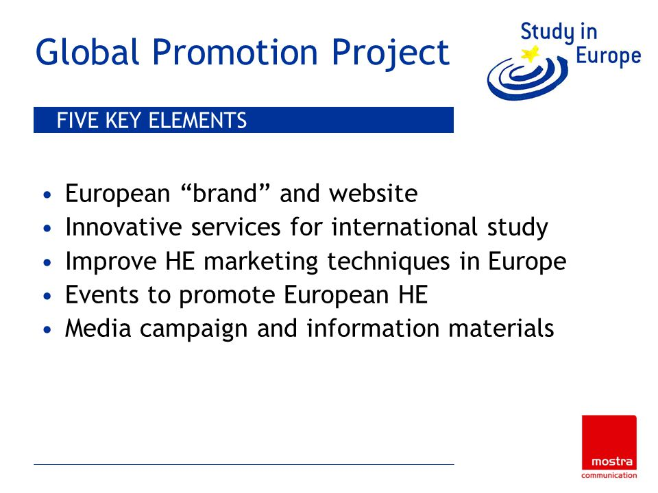 Global Promotion Project European brand and website Innovative services for international study Improve HE marketing techniques in Europe Events to promote European HE Media campaign and information materials FIVE KEY ELEMENTS
