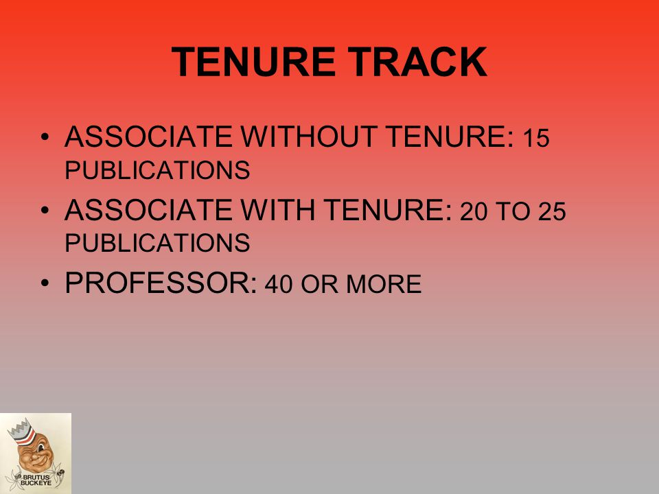 TENURE TRACK ASSOCIATE WITHOUT TENURE: 15 PUBLICATIONS ASSOCIATE WITH TENURE: 20 TO 25 PUBLICATIONS PROFESSOR: 40 OR MORE