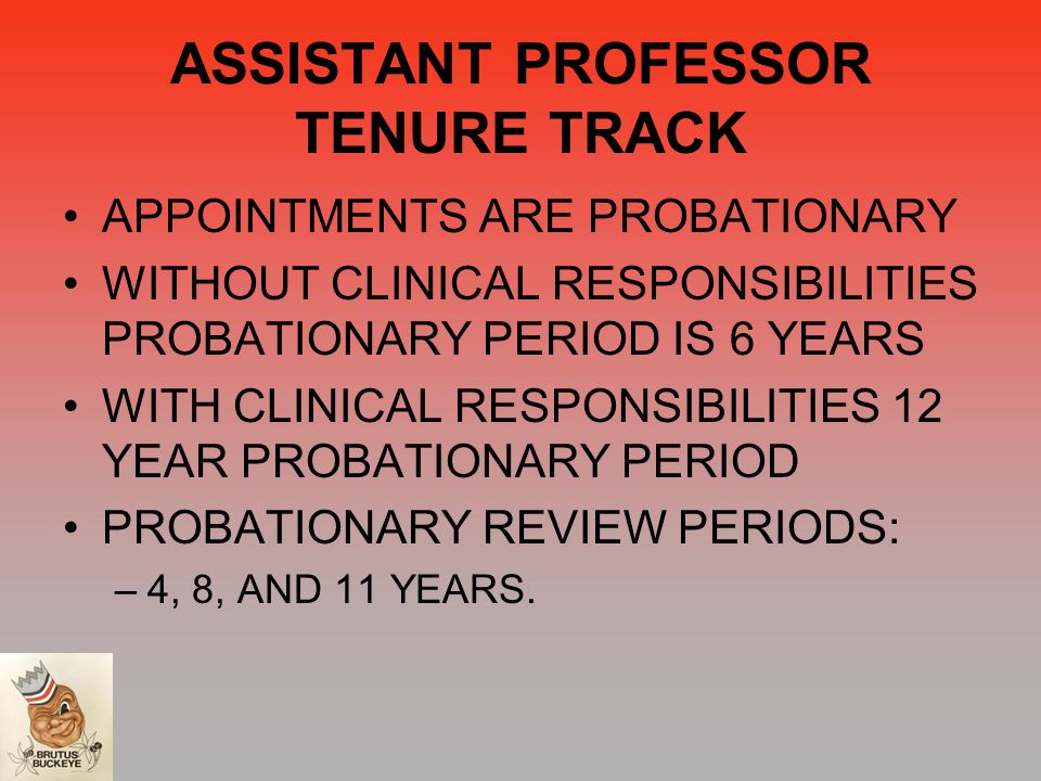 ASSISTANT PROFESSOR TENURE TRACK APPOINTMENTS ARE PROBATIONARY WITHOUT CLINICAL RESPONSIBILITIES PROBATIONARY PERIOD IS 6 YEARS WITH CLINICAL RESPONSIBILITIES 12 YEAR PROBATIONARY PERIOD PROBATIONARY REVIEW PERIODS: –4, 8, AND 11 YEARS.