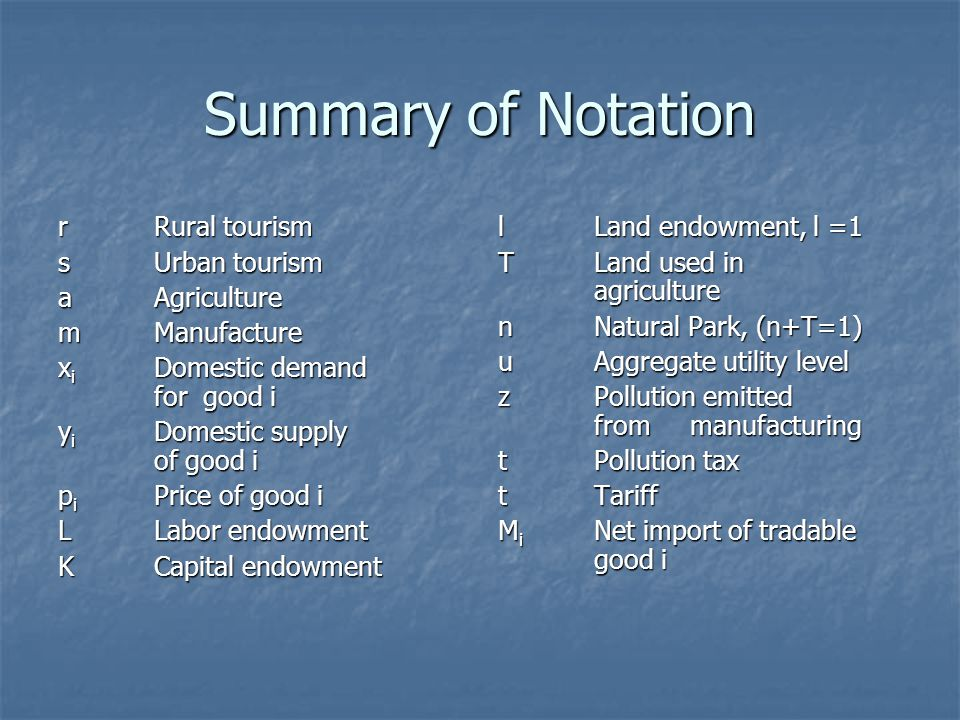 Summary of Notation rRural tourism sUrban tourism aAgriculture mManufacture x i Domestic demand for good i y i Domestic supply of good i p i Price of