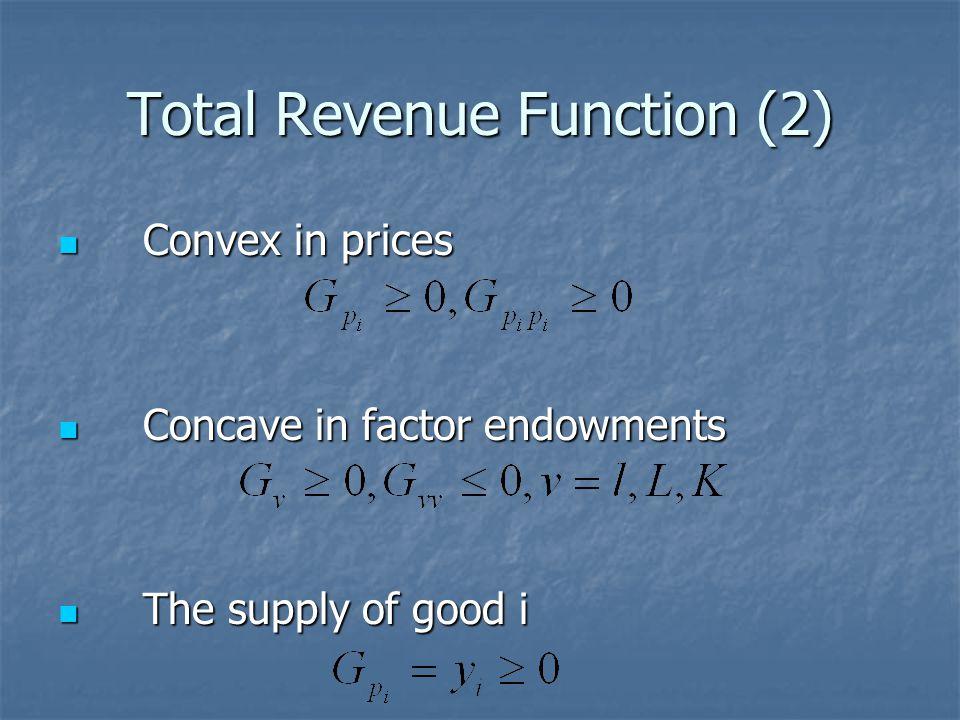 Total Revenue Function (2) Convex in prices Convex in prices Concave in factor endowments Concave in factor endowments The supply of good i The supply