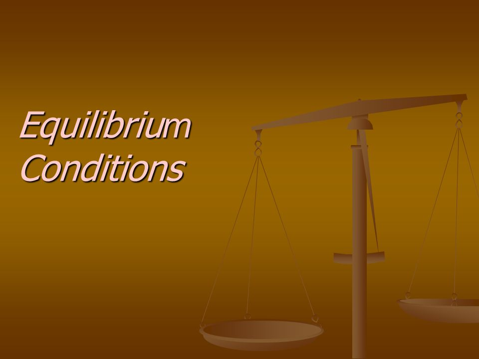 Equilibriu m Conditions