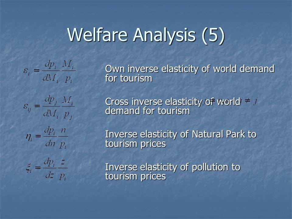 Welfare Analysis (5) Own inverse elasticity of world demand for tourism Cross inverse elasticity of world demand for tourism Inverse elasticity of Nat