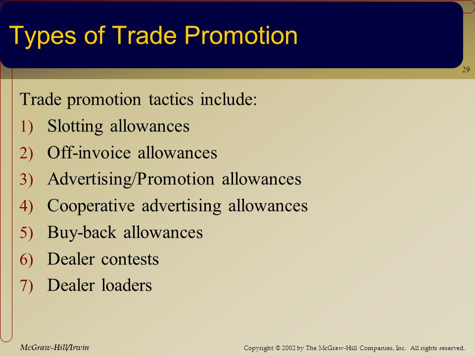 Copyright © 2002 by The McGraw-Hill Companies, Inc. All rights reserved. McGraw-Hill/Irwin 29 Types of Trade Promotion Trade promotion tactics include