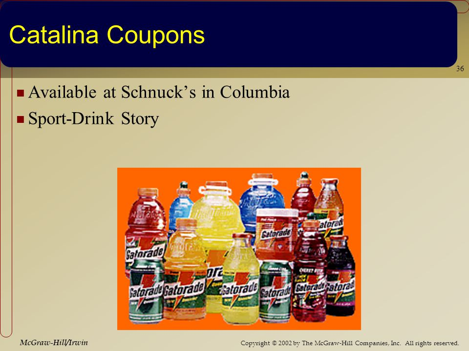 Copyright © 2002 by The McGraw-Hill Companies, Inc. All rights reserved. McGraw-Hill/Irwin 36 Catalina Coupons Available at Schnucks in Columbia Sport