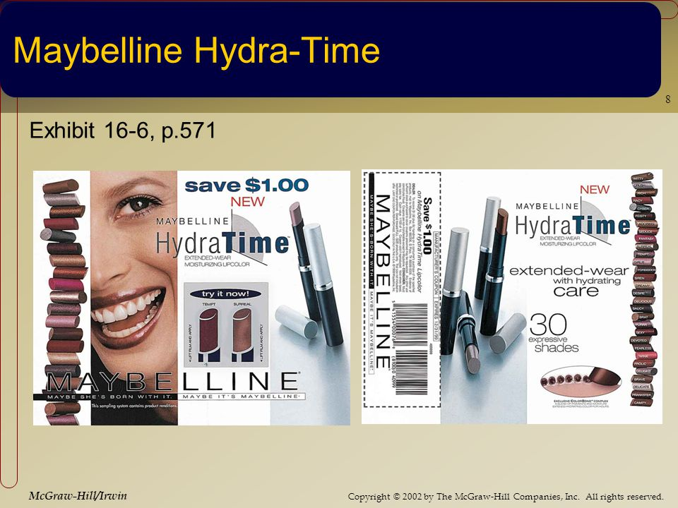 Copyright © 2002 by The McGraw-Hill Companies, Inc. All rights reserved. McGraw-Hill/Irwin 8 Maybelline Hydra-Time Exhibit 16-6, p.571