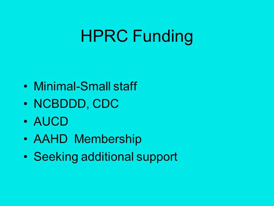 HPRC Funding Minimal-Small staff NCBDDD, CDC AUCD AAHD Membership Seeking additional support