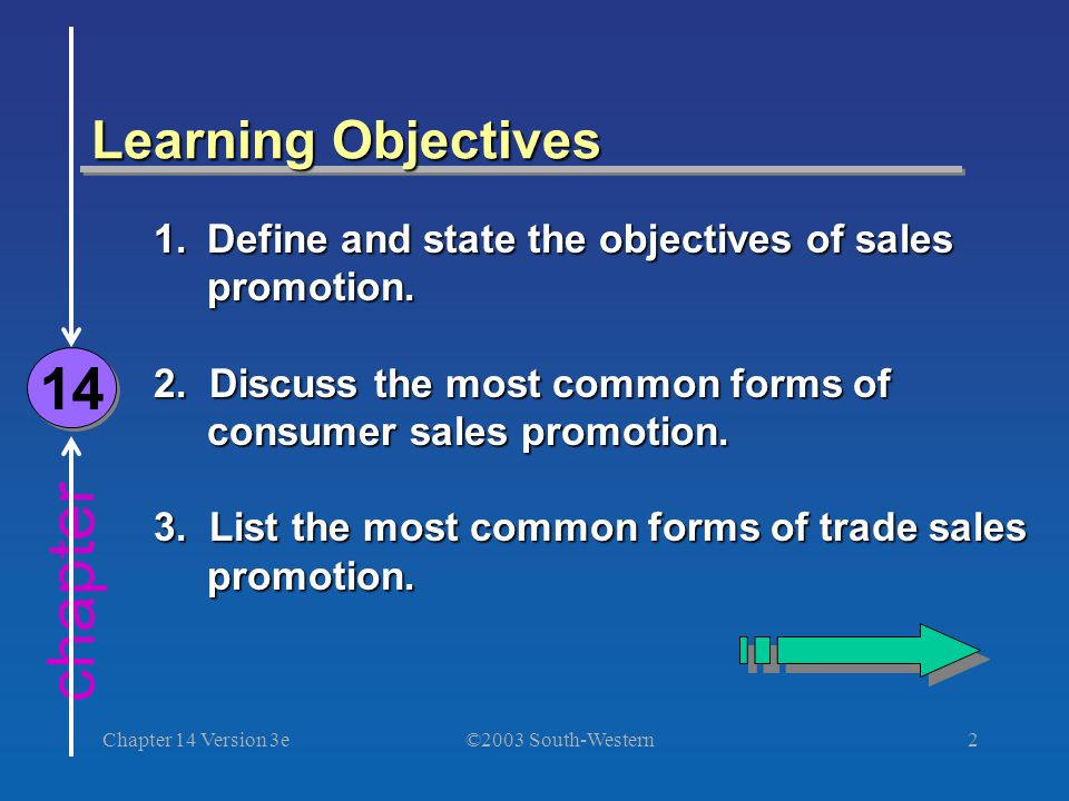 ©2003 South-Western Chapter 14 Version 3e2 chapter Learning Objectives 14 1.Define and state the objectives of sales promotion. 2. Discuss the most co