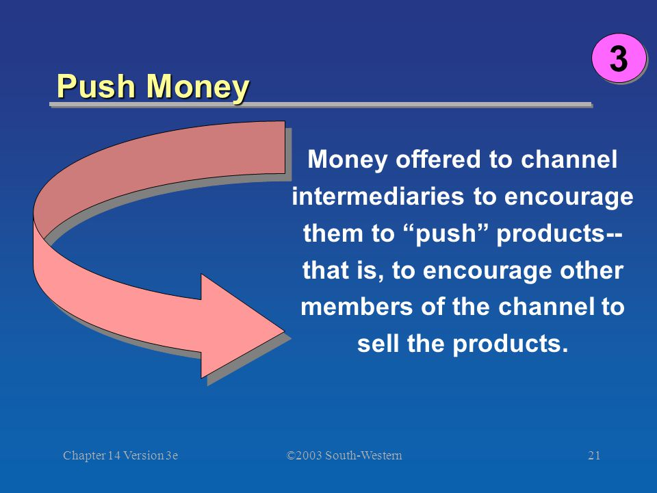 ©2003 South-Western Chapter 14 Version 3e21 Push Money 3 3 Money offered to channel intermediaries to encourage them to push products-- that is, to encourage other members of the channel to sell the products.