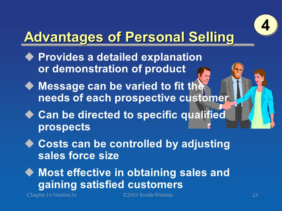 ©2003 South-Western Chapter 14 Version 3e24 Advantages of Personal Selling Provides a detailed explanation or demonstration of product Message can be varied to fit the needs of each prospective customer Can be directed to specific qualified prospects Costs can be controlled by adjusting sales force size Most effective in obtaining sales and gaining satisfied customers 4 4