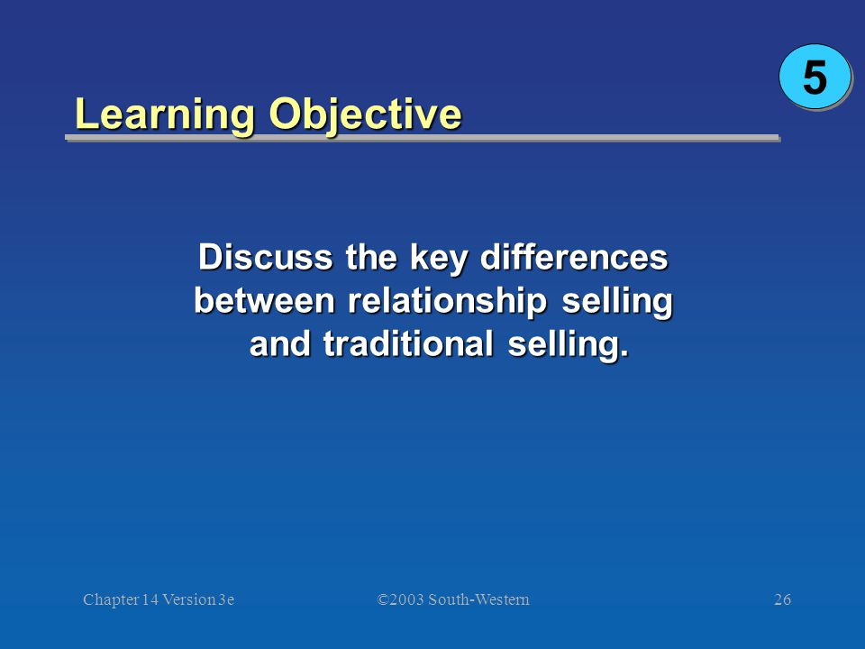 ©2003 South-Western Chapter 14 Version 3e26 Learning Objective Discuss the key differences between relationship selling and traditional selling.