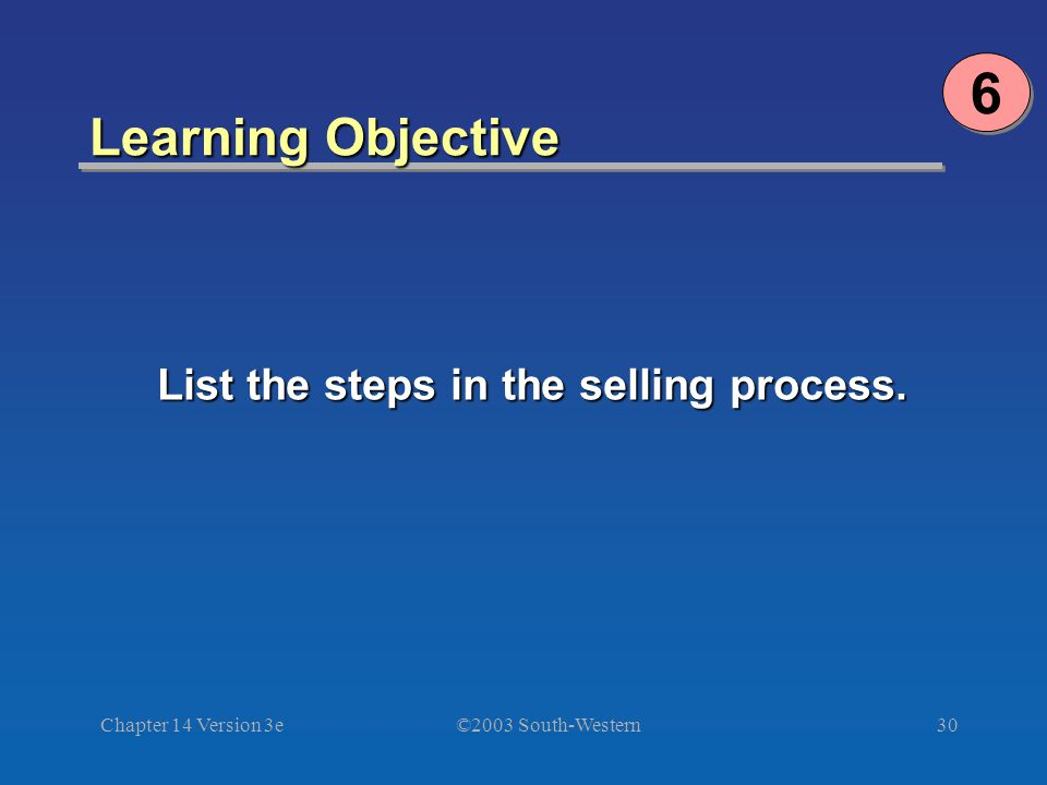 ©2003 South-Western Chapter 14 Version 3e30 Learning Objective 6 6 List the steps in the selling process.