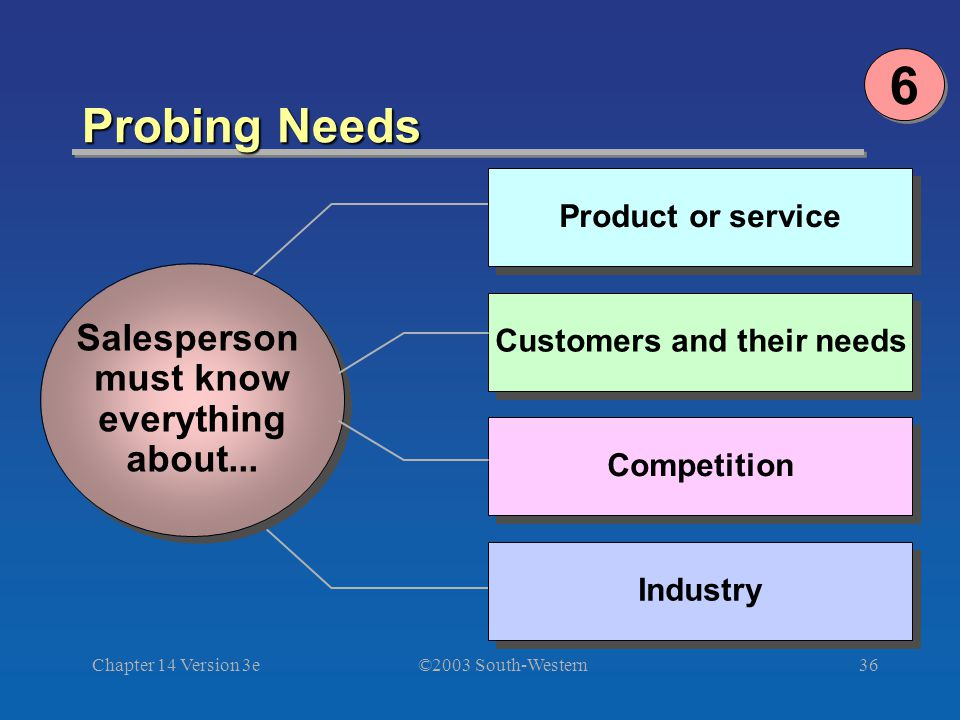 ©2003 South-Western Chapter 14 Version 3e36 Probing Needs Product or service Salesperson must know everything about...