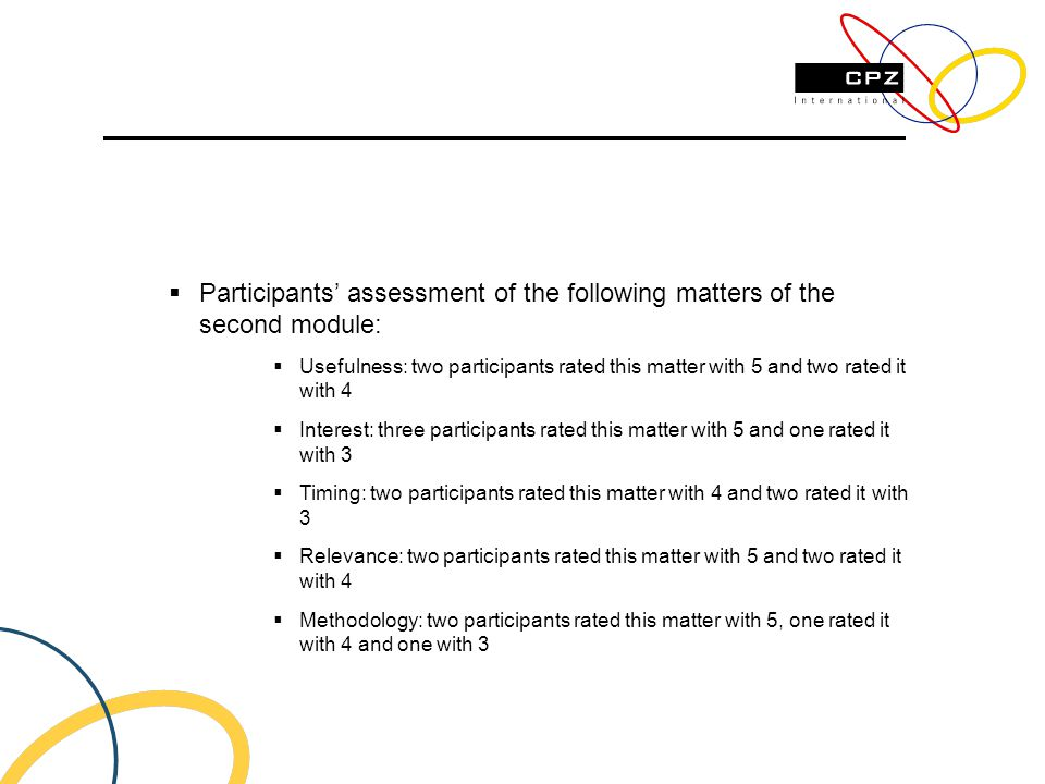 Participants assessment of the following matters of the second module: Usefulness: two participants rated this matter with 5 and two rated it with 4 Interest: three participants rated this matter with 5 and one rated it with 3 Timing: two participants rated this matter with 4 and two rated it with 3 Relevance: two participants rated this matter with 5 and two rated it with 4 Methodology: two participants rated this matter with 5, one rated it with 4 and one with 3