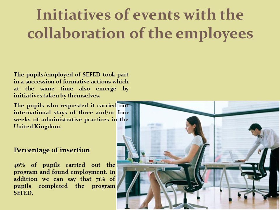 Initiatives of events with the collaboration of the employees The pupils/employed of SEFED took part in a succession of formative actions which at the same time also emerge by initiatives taken by themselves.