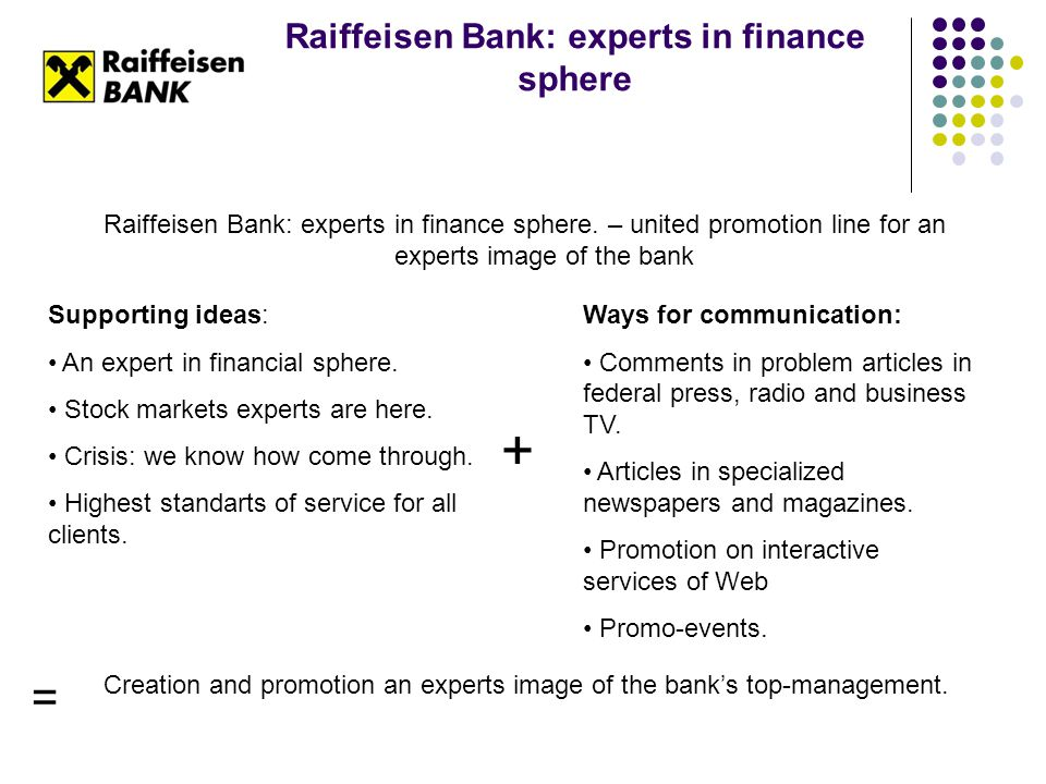 Raiffeisen Bank: experts in finance sphere Raiffeisen Bank: experts in finance sphere. – united promotion line for an experts image of the bank Suppor