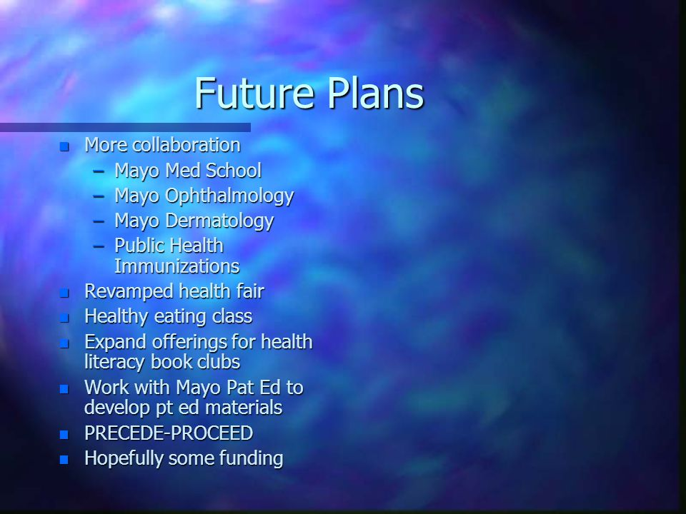 Future Plans n More collaboration –Mayo Med School –Mayo Ophthalmology –Mayo Dermatology –Public Health Immunizations n Revamped health fair n Healthy eating class n Expand offerings for health literacy book clubs n Work with Mayo Pat Ed to develop pt ed materials n PRECEDE-PROCEED n Hopefully some funding