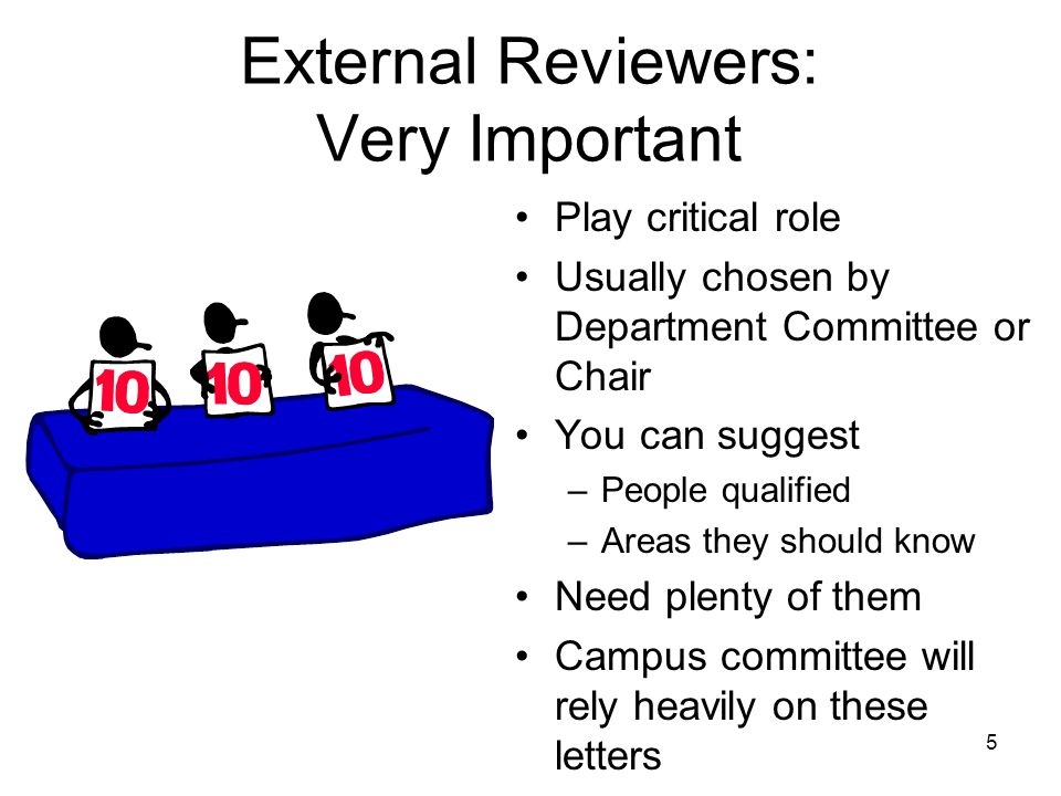 5 External Reviewers: Very Important Play critical role Usually chosen by Department Committee or Chair You can suggest –People qualified –Areas they should know Need plenty of them Campus committee will rely heavily on these letters