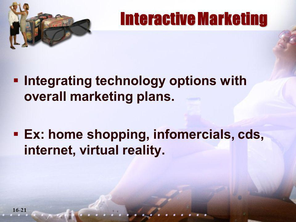 16-21 Interactive Marketing Integrating technology options with overall marketing plans.