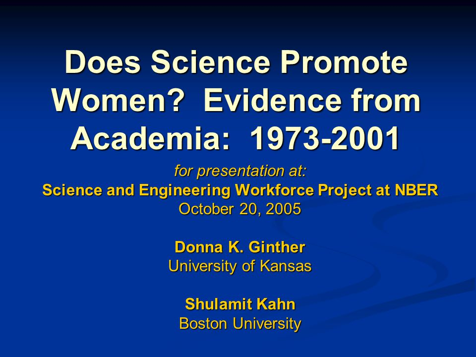Conclusions One exception: One exception: Full Professors in Physical Science at Research I Universities Full Professors in Physical Science at Research I Universities Each academic field presents different hurdles for women in terms of pay and promotion.