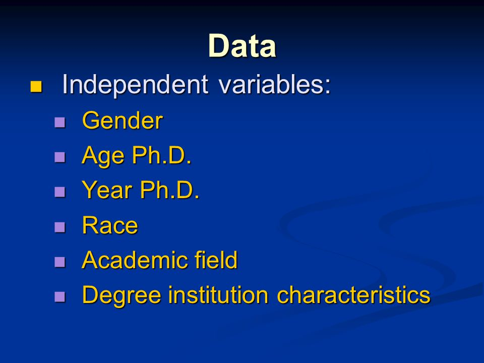 Data Independent variables: Independent variables: Gender Gender Age Ph.D. Age Ph.D. Year Ph.D. Year Ph.D. Race Race Academic field Academic field Deg