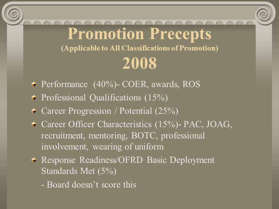 Performance (40%)- COER, awards, ROS Professional Qualifications (15%) Career Progression / Potential (25%) Career Officer Characteristics (15%)- PAC,