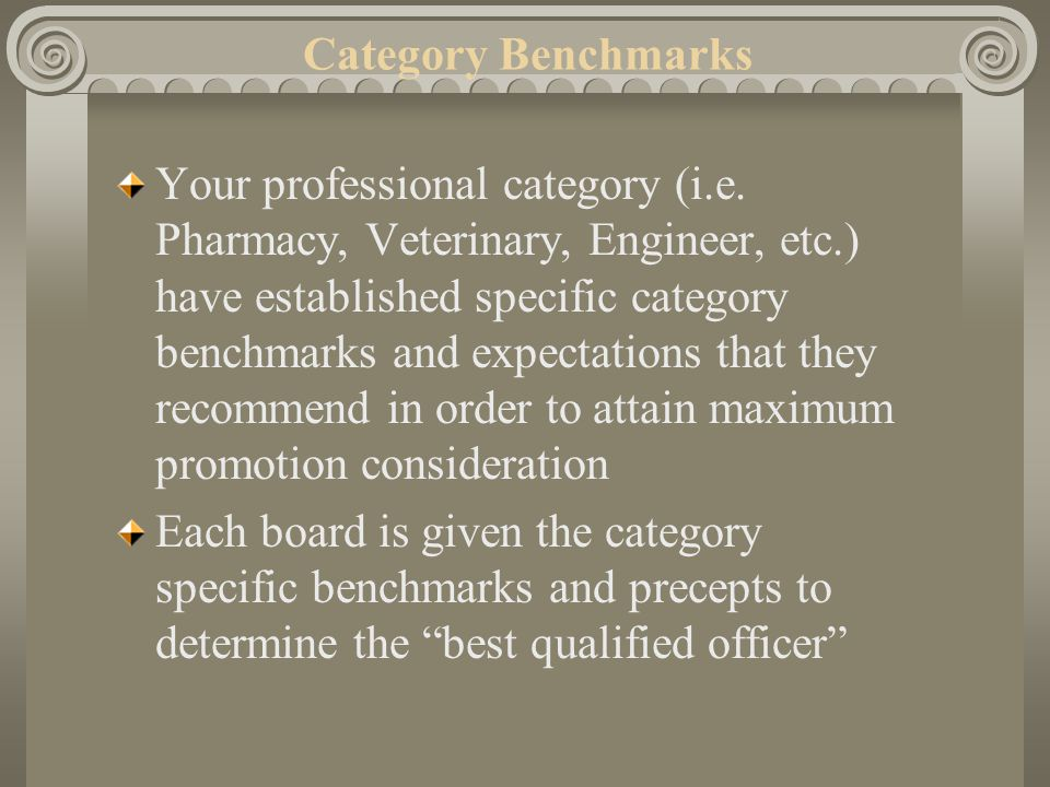 Your professional category (i.e. Pharmacy, Veterinary, Engineer, etc.) have established specific category benchmarks and expectations that they recomm