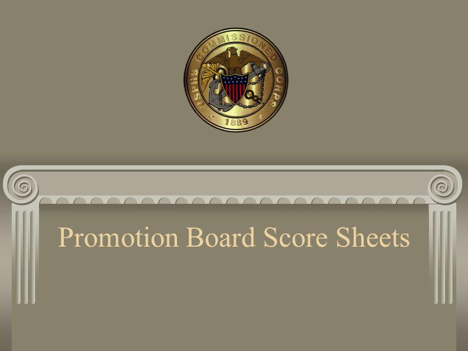 Promotion Board Score Sheets