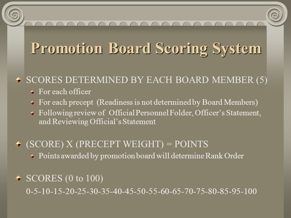 Promotion Board Scoring System SCORES DETERMINED BY EACH BOARD MEMBER (5) For each officer For each precept (Readiness is not determined by Board Memb