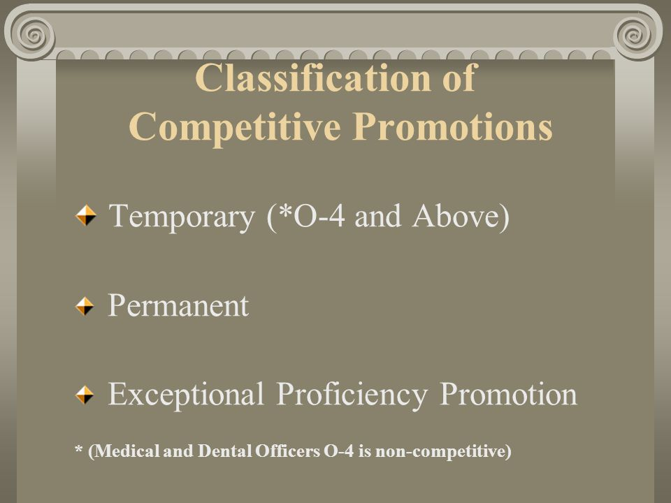 Classification of Competitive Promotions Temporary (*O-4 and Above) Permanent Exceptional Proficiency Promotion * (Medical and Dental Officers O-4 is