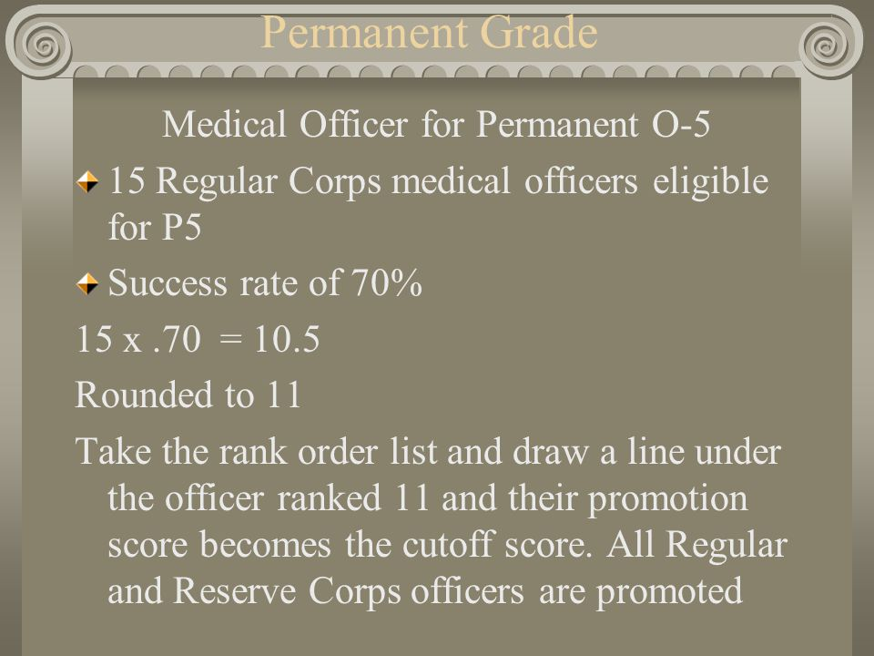 Permanent Grade Medical Officer for Permanent O-5 15 Regular Corps medical officers eligible for P5 Success rate of 70% 15 x.70 = 10.5 Rounded to 11 T