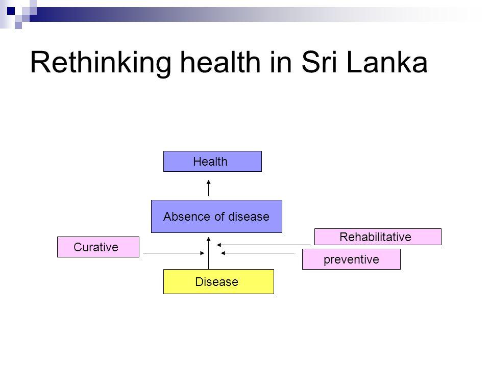 Rethinking health in Sri Lanka Absence of disease Health Disease preventive Curative Rehabilitative