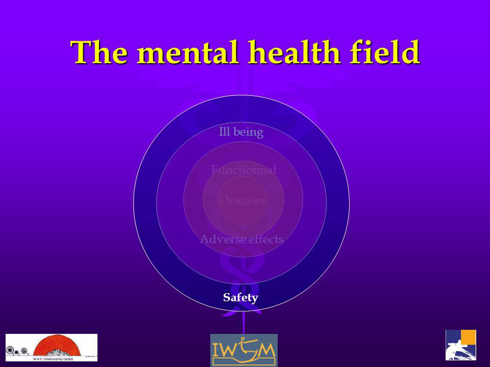 The mental health field Diseases Functionnal Adverse effects Ill being Safety