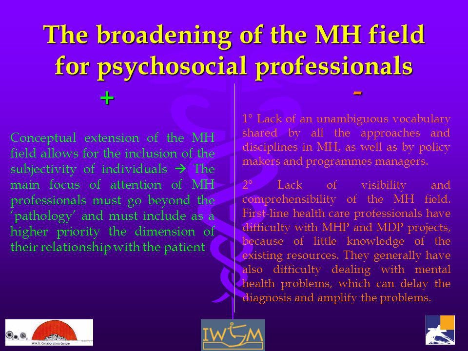 The broadening of the MH field for psychosocial professionals + Conceptual extension of the MH field allows for the inclusion of the subjectivity of i