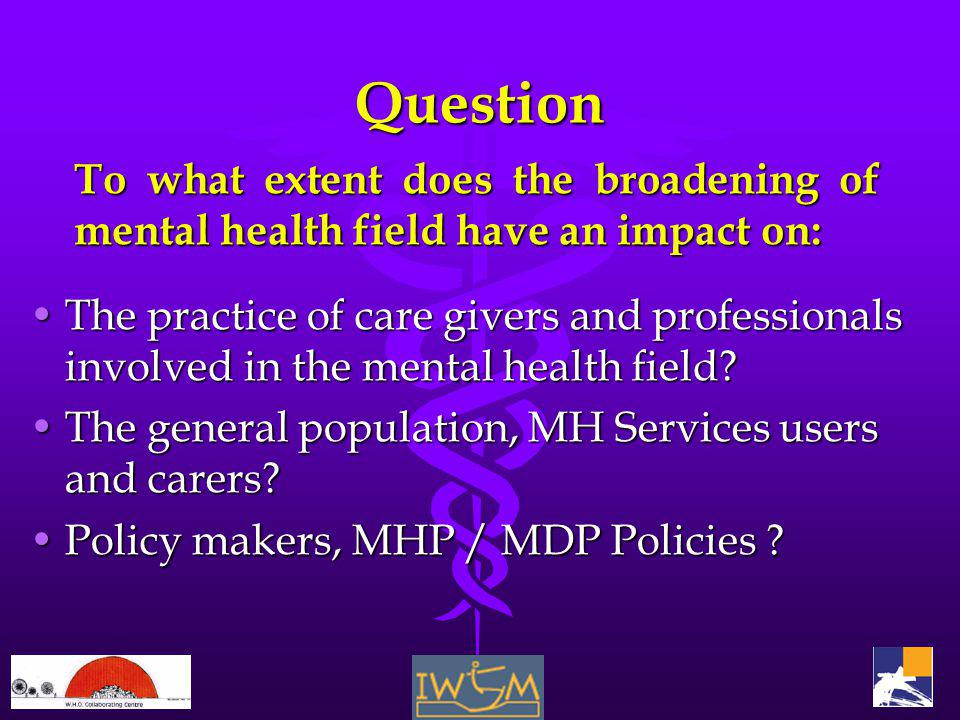 Question The practice of care givers and professionals involved in the mental health field The practice of care givers and professionals involved in the mental health field.