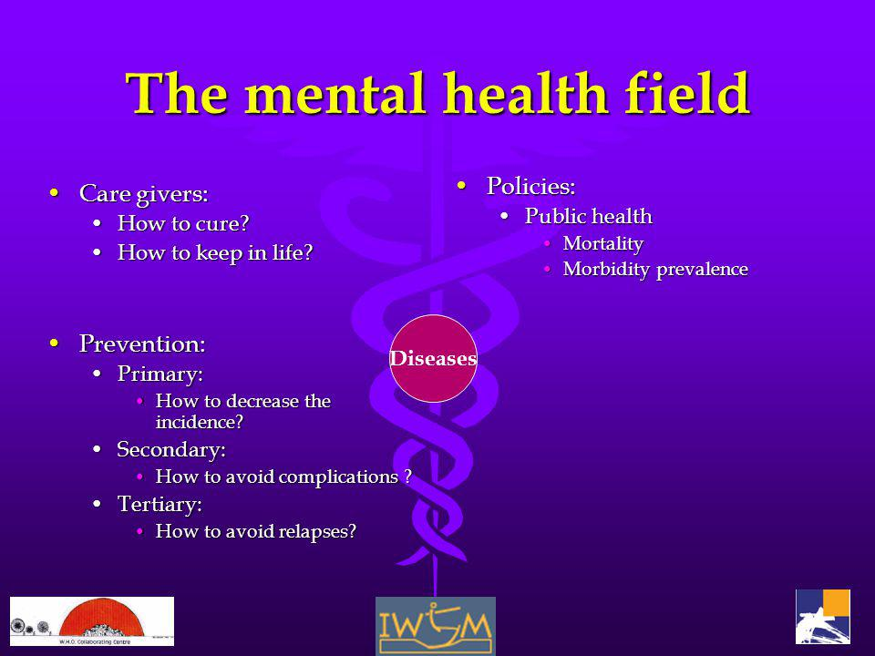 The mental health field Care givers:Care givers: How to cure?How to cure.