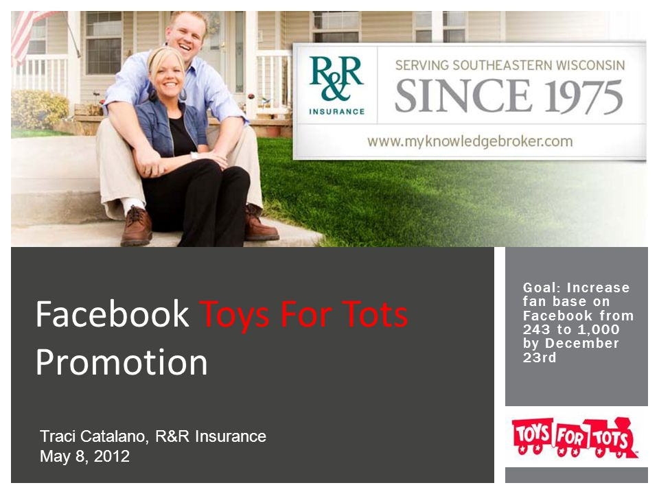 Goal: Increase fan base on Facebook from 243 to 1,000 by December 23rd Facebook Toys For Tots Promotion Traci Catalano, R&R Insurance May 8, 2012