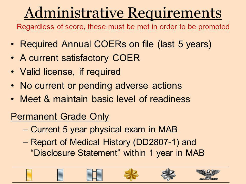 Administrative Requirements Required Annual COERs on file (last 5 years) A current satisfactory COER Valid license, if required No current or pending