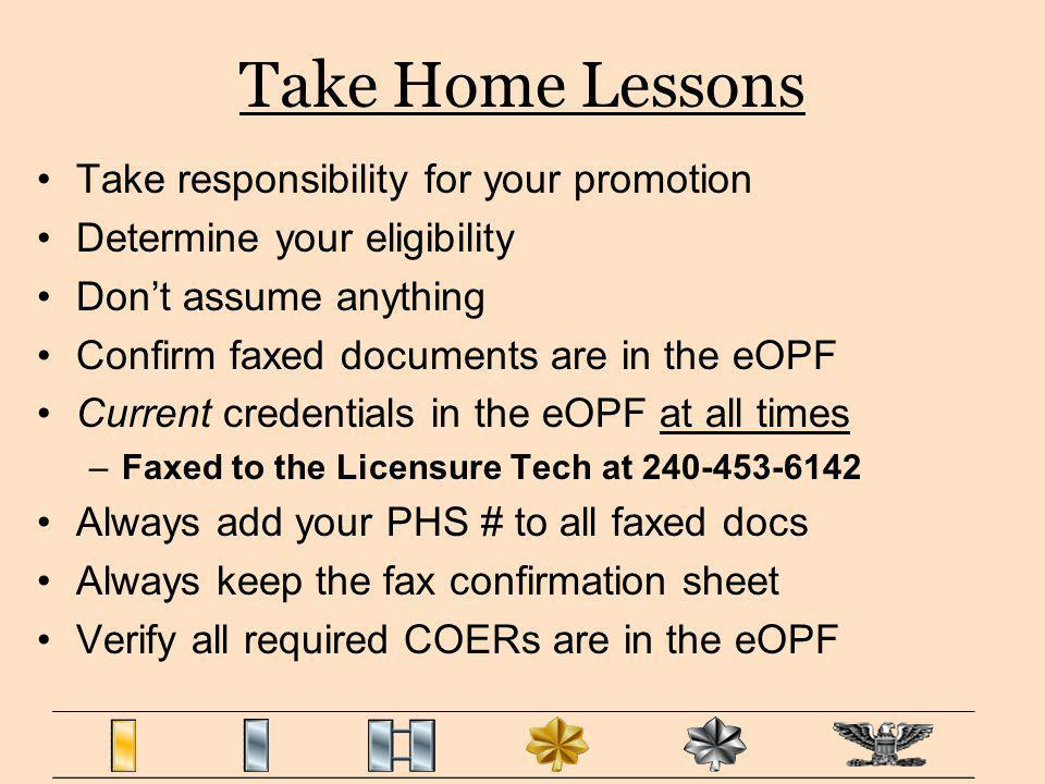 Take Home Lessons Take responsibility for your promotion Determine your eligibility Dont assume anything Confirm faxed documents are in the eOPF Curre