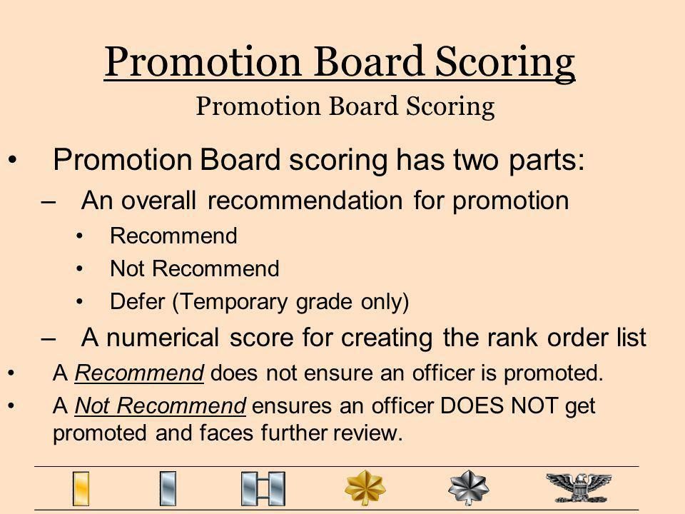 Promotion Board scoring has two parts: –An overall recommendation for promotion Recommend Not Recommend Defer (Temporary grade only) –A numerical scor
