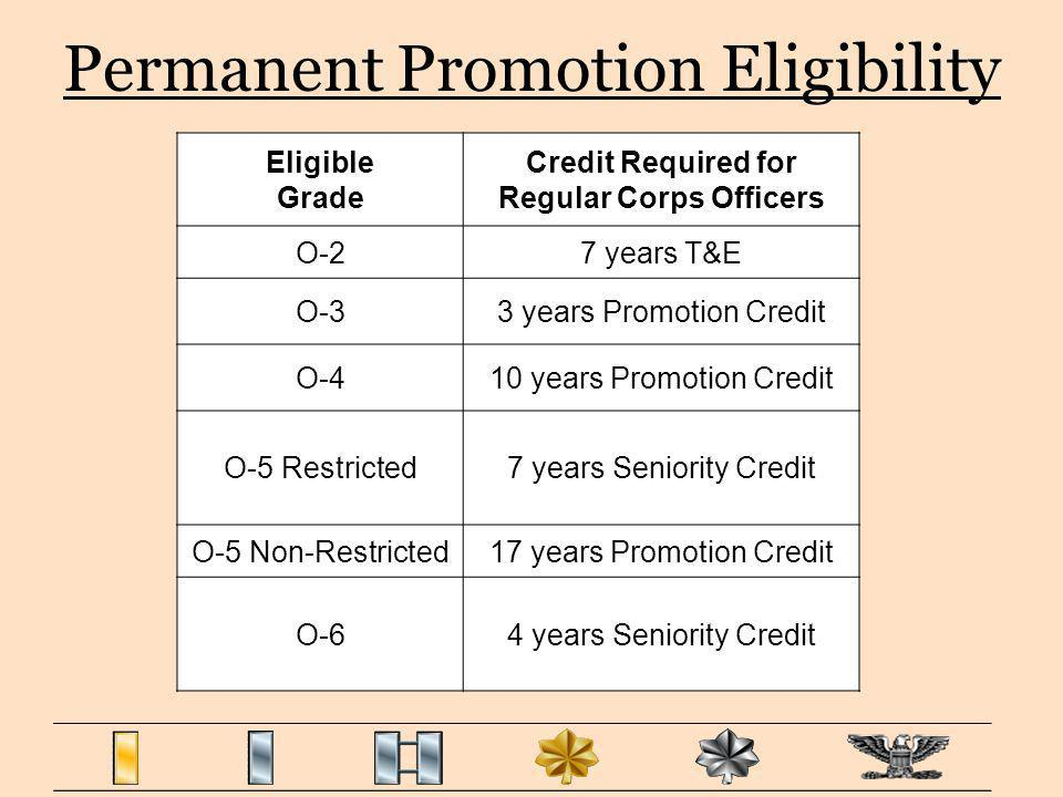 Permanent Promotion Eligibility Eligible Grade Credit Required for Regular Corps Officers O-27 years T&E O-33 years Promotion Credit O-410 years Promo