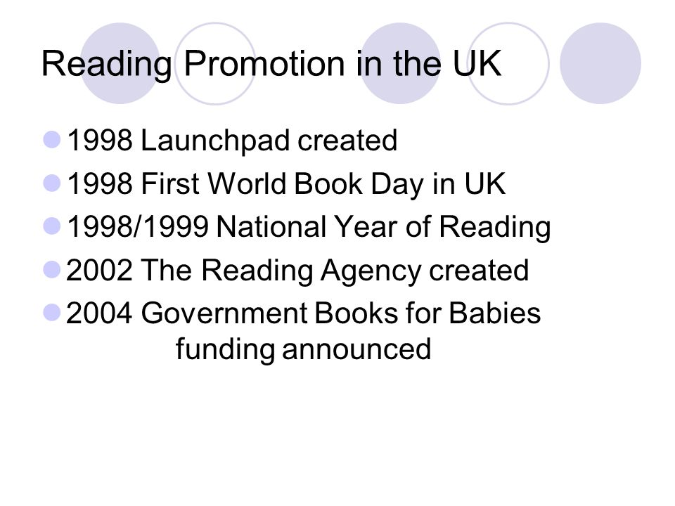 Reading Promotion in the UK 1998 Launchpad created 1998 First World Book Day in UK 1998/1999 National Year of Reading 2002 The Reading Agency created