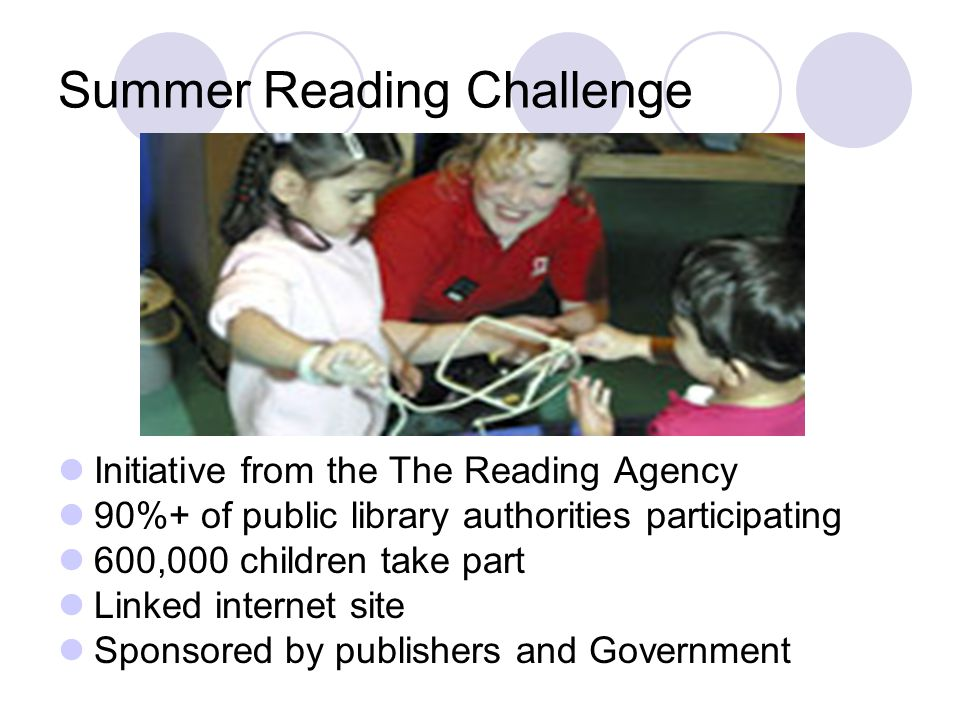 Summer Reading Challenge Initiative from the The Reading Agency 90%+ of public library authorities participating 600,000 children take part Linked int