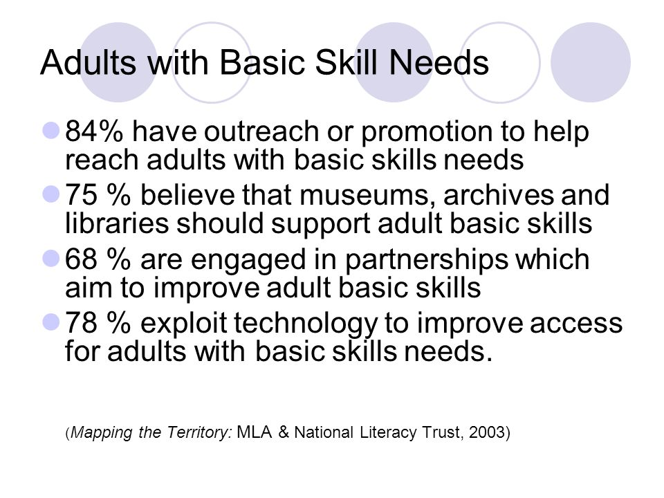 Adults with Basic Skill Needs 84% have outreach or promotion to help reach adults with basic skills needs 75 % believe that museums, archives and libr