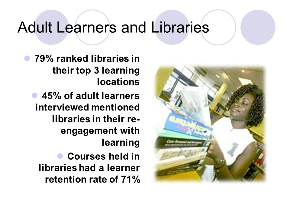 Adult Learners and Libraries 79% ranked libraries in their top 3 learning locations 45% of adult learners interviewed mentioned libraries in their re-
