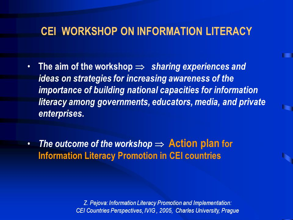 Z. Pejova: Information Literacy Promotion and Implementation: CEI Countries Perspectives, IVIG, 2005, Charles University, Prague CEI WORKSHOP ON INFOR