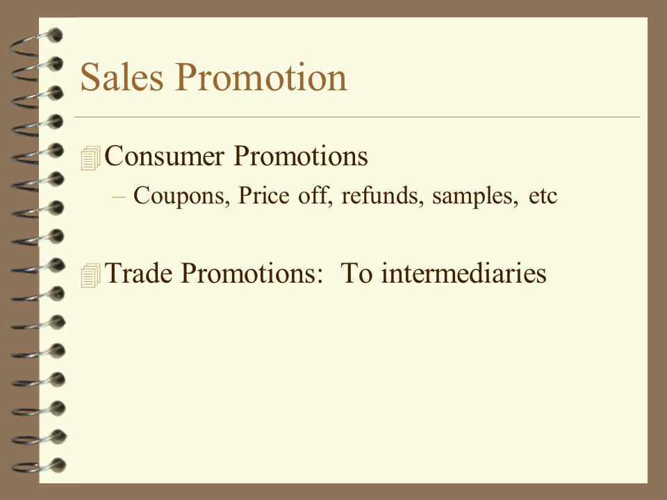 Sales Promotion 4 Consumer Promotions –Coupons, Price off, refunds, samples, etc 4 Trade Promotions: To intermediaries