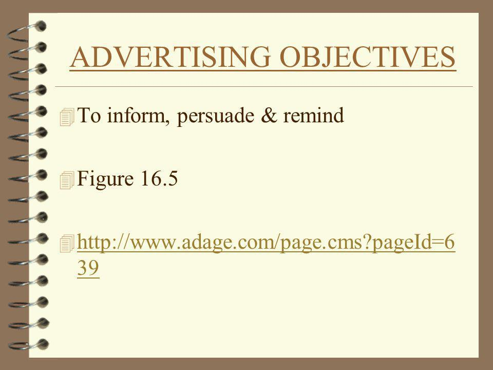 ADVERTISING OBJECTIVES 4 To inform, persuade & remind 4 Figure 16.5 4 http://www.adage.com/page.cms?pageId=6 39 http://www.adage.com/page.cms?pageId=6